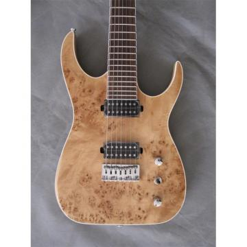 Custom Shop 7 String Natural Birds Eye Electric Guitar  Black Machine