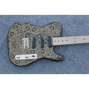 Custom Gold Paisley Design Telecaster Electric Guitar Floral James Burton