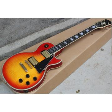 Custom Cherry Sunburst Tiger Maple Standard  LP 6 String Electric Guitar