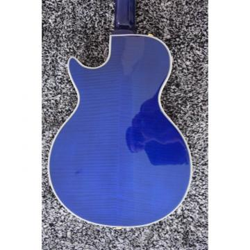 Custom Built Blue Tiger Maple Top LP 6 String Electric Guitar Semi Hollow
