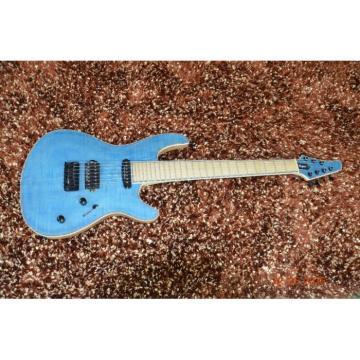 Custom Built Regius 7 String Blue Flame Maple Top Finish Mayones Guitar