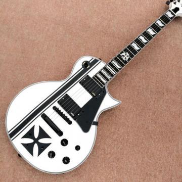 Custom Shop ESP Metallica James Hetfield Iron Cross  White w/ Stripes Graphic Guitar