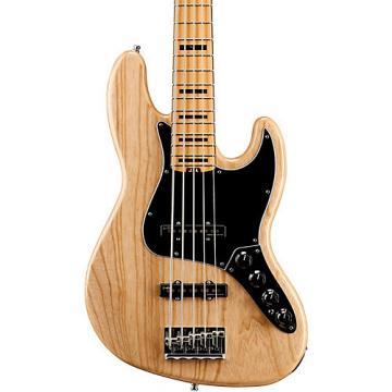 Fender American Elite Jazz Bass V, Maple Electric Bass Guitar Natural