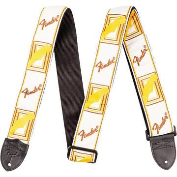 """Fender 2"""" Monogrammed Guitar Strap White, Brown, and Yellow"""