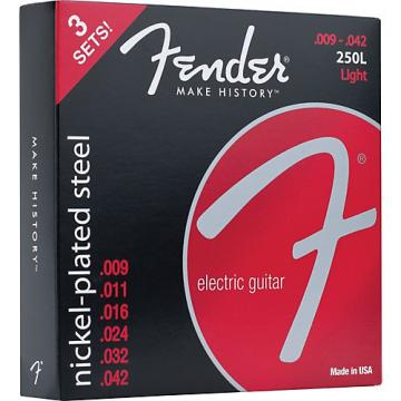 Fender 250L Super 250 Nickel-Plated Steel Electric Guitar Strings 3-Pack