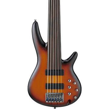 Ibanez SRF706 6-String Fretless Electric Bass Guitar Flat Brown Burst
