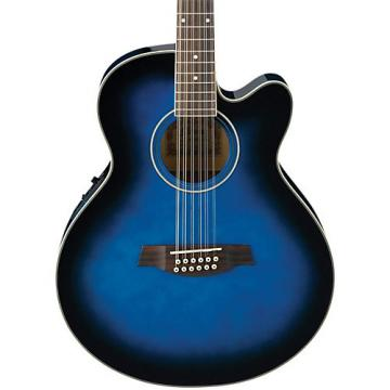Ibanez AEL152ETBS 12-String Cutaway Acoustic-Electric Guitar Transparent Blue Sunburst
