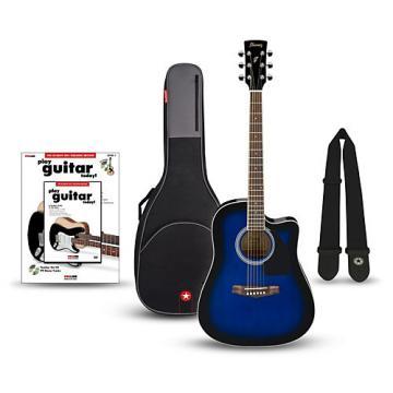 Ibanez Performance Series PF15 Cutaway Dreadnought Acoustic-Electric Guitar Bundle Transparent Blue Sunburst