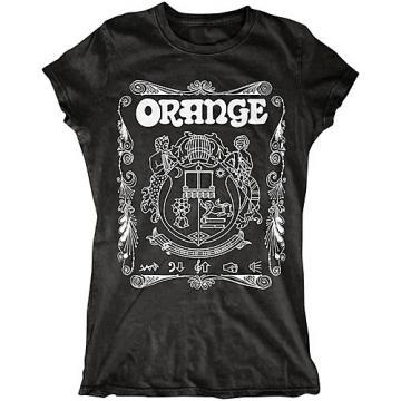 Orange Amplifiers Ladies Crest T-Shirt with White Crest Black Medium