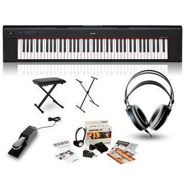 Yamaha NP32 Portable Keyboard with Headphones, Bench, Stand and Sustain Pedal Black