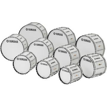 """Yamaha 30 x 14"""" 8300 Series Field-Corps Marching Bass Drum White Forest"""