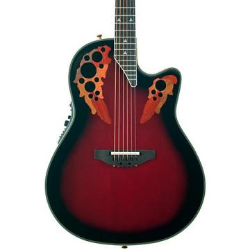 Ovation Elite 2078 AX Deep Contour Acoustic-Electric Guitar Black Cherry Burst