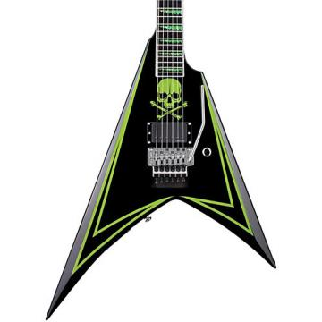 ESP LTD ALEXI 600 Greeny Alexi Laiho Signature Electric Guitar Black with Lime Green Pinstripe and Skull Graphic