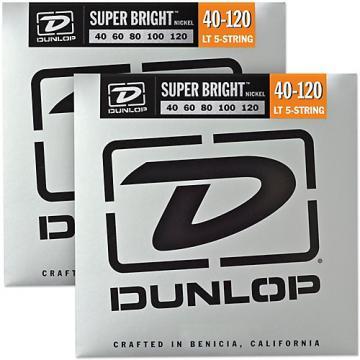 Dunlop Super Bright Nickel Light 5-String Bass Guitar Strings (4-120) 2-Pack