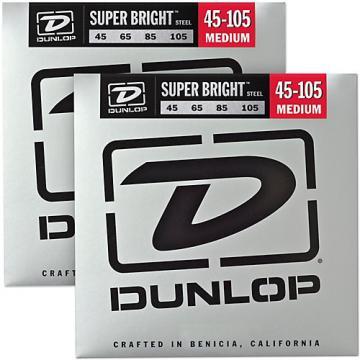 Dunlop Super Bright Steel Medium 4-String Bass Guitar Strings (45-105) 2-Pack