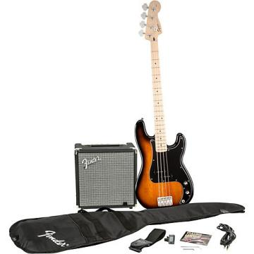 Squier Affinity Series Precision Bass Pack with Fender Rumble 15W Bass Combo Amp Brown Sunburst