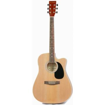 Full Size Thinline Acoustic Electric Guitar with Gig Bag Case & Picks - Natural Finish
