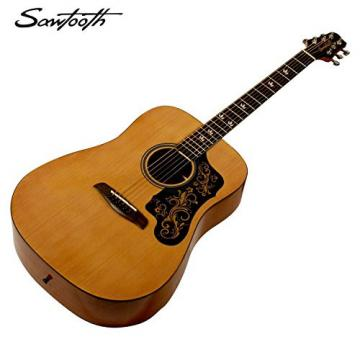 Sawtooth Acoustic Guitar with Black Pickguard w/ custom graphic & ChromaCast Accessories