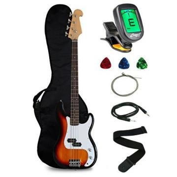 Crescent Electric Bass Guitar Starter Kit - Sunburst Color (Includes CrescentTM Digital E-Tuner)