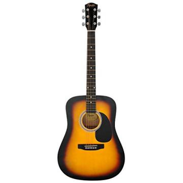 Fender Squier Dreadnought Acoustic Guitar Bundle with Hardshell Case, Guitar Stand, Tuner, Strap, Strings, and Picks - Sunburst