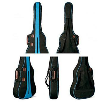 MiraTekk Nylon Cotton Acoustic Guitar Bag Backpack Two Back Pocket Gig Bag Electric Guitar Bag (Blue - 36 inch)