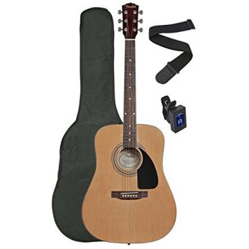Squier by Fender SA-100 Upgrade Acoustic Guitar Pack with Strap, Gig Bag, and Tuner