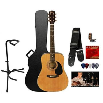 Squier by Fender SA-50 Dreadnought Acoustic Guitar w/ Strings, Strap, Tuner, Stand, Picks, Hard Case & Online Lesson