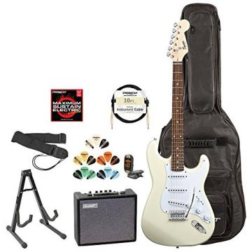 Squire by Fender 028-0002-580-KIT-3 Arctic White Electric Guitar with Accessories and Amp