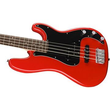 Squier Affinity P/J Electric Bass Guitar - Rosewood Fingerboard, Race Red w/ Stand and Tuner