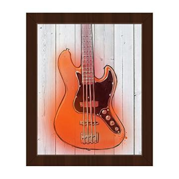 Orange Guitar: Graphic Illustration of Gleaming Bass Guitar on Woodplank-pattern Wall Art Print on Canvas with Espresso Frame