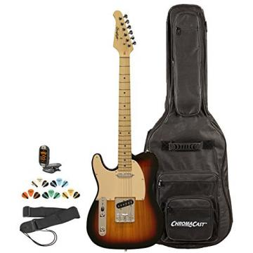 Sawtooth ST-ET-LH-SBW-KIT-2 Left Handed Electric Guitar, Sunburst with Aged White Pickguard