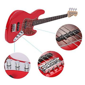 ammoon I1951R Solid Wood 4 String JB Electric Bass Guitar Basswood Body Rosewood Fretboard 24 Frets with 6.35 mm Cable