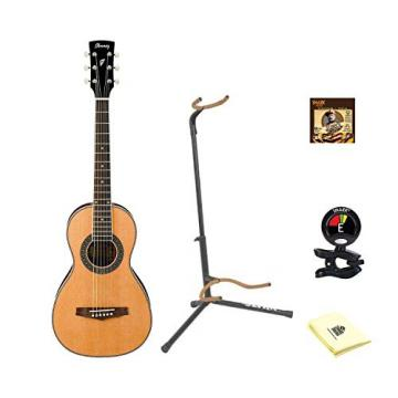 Ibanez PN1 Natural Parlor Acoustic Guitar With Polishing Cloth, Picks, Tuner, and Stand