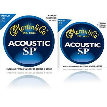 Martin MSP4200 Phosphor Bronze Medium Acoustic Guitar Strings (2 Pack)