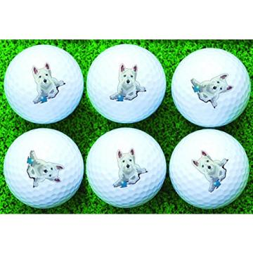 Westie West Highland Terrier Martin Wiscombe 6 X Printed Golf Balls