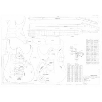 Ibanez Electric Guitar Plans - Full Scale technical design drawings - Jem 777- Actual Size Plans