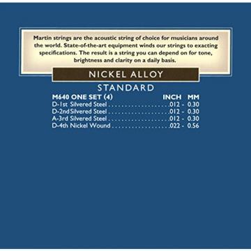 Mountain Dulcimer String Set, Martin Standard Gauge (.012, .012, .012, .022 Nickel Wound)
