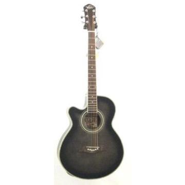 Oscar Schmidt OG10CEFTBLH Transparent Black Left-handed Acoustic Electric Guitar w/Gigbag and More!
