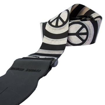 LeatherGraft Black White Circles Peace Symbol Print Nylon Electric Acoustic Bass Guitar Strap