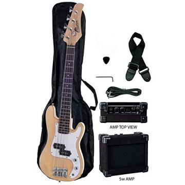 Raptor 3/4 Size 38 Inch Kids Child 4 String Electric P Bass Package - NATURAL with 5W Amp, Gig Bag, Strap, Cable, Pick
