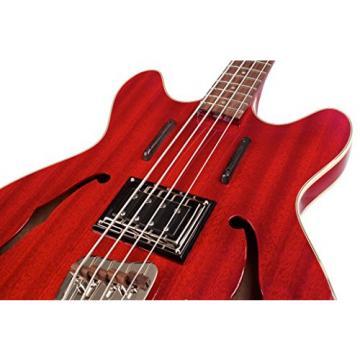 Guild Starfire Bass CHR-KIT-1 Semi-Hollow Electric Bass Guitar, Cherry Red