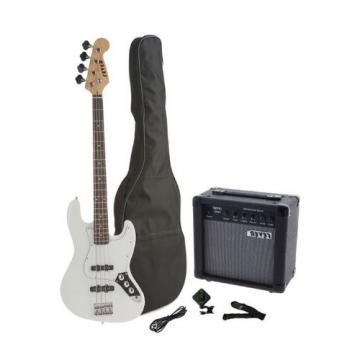 Fever 4-String Electric Jazz Bass Style with 20-Watts Amplifier Gig Bag Clip on Tuner Cable and Strap Color White JB43-20W-WH