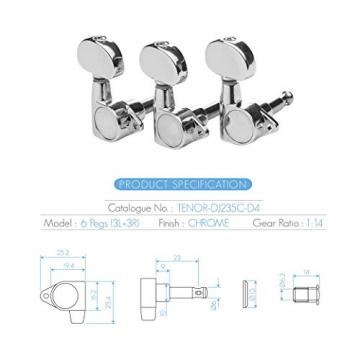 DJ235C-D4 TENOR Acoustic Guitar Tuners, Tuning Key Pegs/Machine Heads for Acoustic Guitar with Chrome Plated Finish and Chrome Plated Buttons.