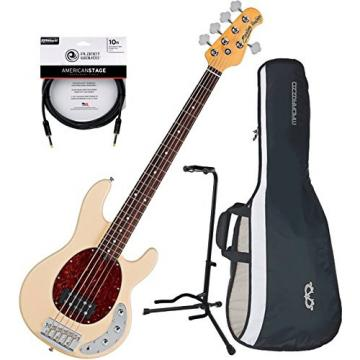 Sterling by Music Man RAY35CA 5-String Electric Bass Guitar Vintage Cream w/ Gig Bag, Stand, and Cable