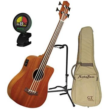 Goldtone M Bass Microbass Fretless Short-Scaled Acoustic Electric Bass w/ Gig Bag, Stand, and Tuner