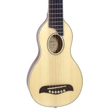 Washburn RO10NG Rover Steel String Travel Acoustic Guitar with Case, Instructional CD-ROM, Strap, and Picks - Natural Gloss