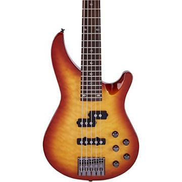 Mitchell MB305 5-String Modern Rock Bass with Active EQ Honey Burst