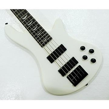 5 String Electric Bass, Fretted, Matte White Polish