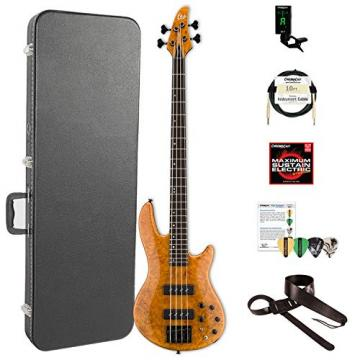 ESP LH1004SEBMHN-KIT-2 H Series 4-String Solid Burled Maple Top Electric Bass with Hard Case, Honey Natural