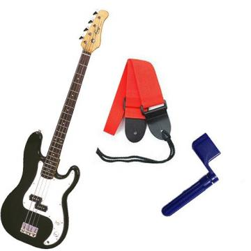 It's All About the Bass Pack - Black Kay Electric Bass Guitar Medium Scale w/Blue String Winder & Red Strap